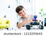 cheerful smart schoolboy... | Shutterstock . vector #1213293643
