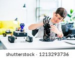 nice optimistic smart boy... | Shutterstock . vector #1213293736