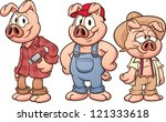 Three Little Pigs. Vector...