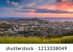 Small photo of Cityscape and Diamond Head Mountain under sunset at Tantalus Lookout, Honolulu, Hawaii