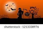 halloween scary wallpaper | Shutterstock . vector #1213338976