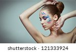fashion make up with face art. | Shutterstock . vector #121333924