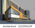 3d render of modern building... | Shutterstock . vector #1213356139