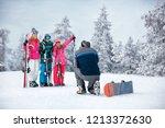 ski  snow sun and fun   happy... | Shutterstock . vector #1213372630