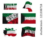 kuwait flag and map in... | Shutterstock . vector #121338718