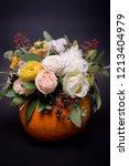 autumn floral bouquet in... | Shutterstock . vector #1213404979