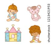 set babies bays with feeding...   Shutterstock .eps vector #1213421953