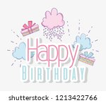 happy birthday with clouds and...   Shutterstock .eps vector #1213422766