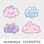 set kawaii fluffy clouds... | Shutterstock .eps vector #1213423753