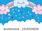 rainbow with happy fluffy... | Shutterstock .eps vector #1213424020
