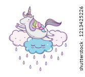 unicorn on clouds cute cartoons | Shutterstock .eps vector #1213425226