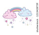 cloud and rainbow cute cartoon | Shutterstock .eps vector #1213428739