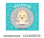celebration welcome for baby boy | Shutterstock .eps vector #1213435270
