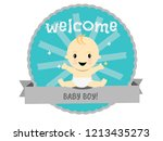 celebration welcome for baby boy | Shutterstock .eps vector #1213435273