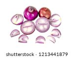 red sliced onion isolated on...