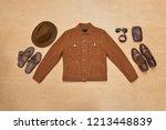 various accessories for men on...   Shutterstock . vector #1213448839