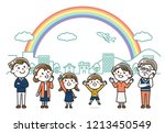 three generations family | Shutterstock .eps vector #1213450549