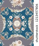 baroque damask pattern ... | Shutterstock . vector #1213457806