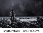 spaceman landing planet. mixed... | Shutterstock . vector #1213465696