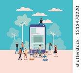 mini people working in... | Shutterstock .eps vector #1213470220