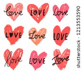 vector hearts doodle set with... | Shutterstock .eps vector #1213553590