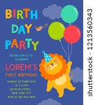 cute lion with balloons is in... | Shutterstock .eps vector #1213560343