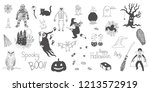 set of halloween doodle   Shutterstock .eps vector #1213572919