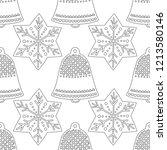 gingerbread  bells. black and... | Shutterstock .eps vector #1213580146