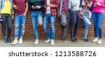 group of eight teen friends... | Shutterstock . vector #1213588726