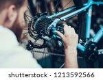 bike mechanic repairs bicycle... | Shutterstock . vector #1213592566