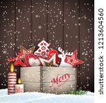 group of christmas ornaments in ... | Shutterstock .eps vector #1213604560