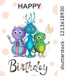 colourful card on a birthday... | Shutterstock . vector #1213618930