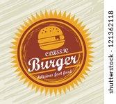 burger label over grunge...
