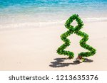 christmas tree of tinsel on... | Shutterstock . vector #1213635376