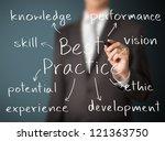 business man writing best...   Shutterstock . vector #121363750