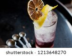 cocktail in highball glass with ... | Shutterstock . vector #1213648270
