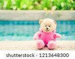 bear doll in pink suit near... | Shutterstock . vector #1213648300