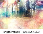 autumn forest landscape  ... | Shutterstock . vector #1213654660