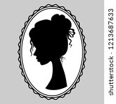 beautiful young girl side view. ... | Shutterstock .eps vector #1213687633