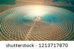 Aerial view of a modern concentrated solar power plant - stock photo