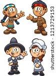 native american and pilgrim... | Shutterstock .eps vector #1213729153