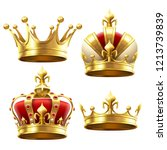 Realistic Gold Crown. Crowning...