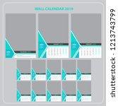 wall calendar for 2019 year.... | Shutterstock .eps vector #1213743799