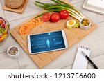 healthy food composition with... | Shutterstock . vector #1213756600