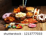 unhealthy products. food bad... | Shutterstock . vector #1213777033