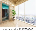 spacious and bright balcony ... | Shutterstock . vector #1213786360