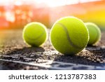 tennis ball on a tennis clay... | Shutterstock . vector #1213787383