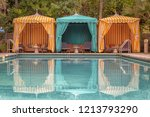 colorful poolside cabanas   Shutterstock . vector #1213793290