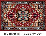 Stock vector persian carpet tribal vector texture easy to edit and change a few colors by swatch window 1213794019