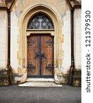 Old Wooden Church Door. Zagreb...